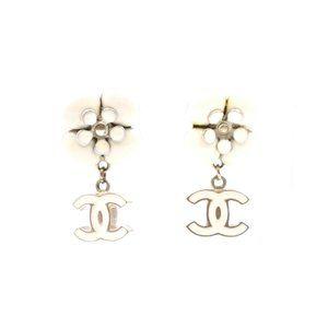 Chanel Gold White Cc Flower Resin Dangle Earrings